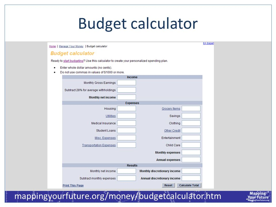 Budget calculator mappingyourfuture.org/money/budgetcalculator.htm