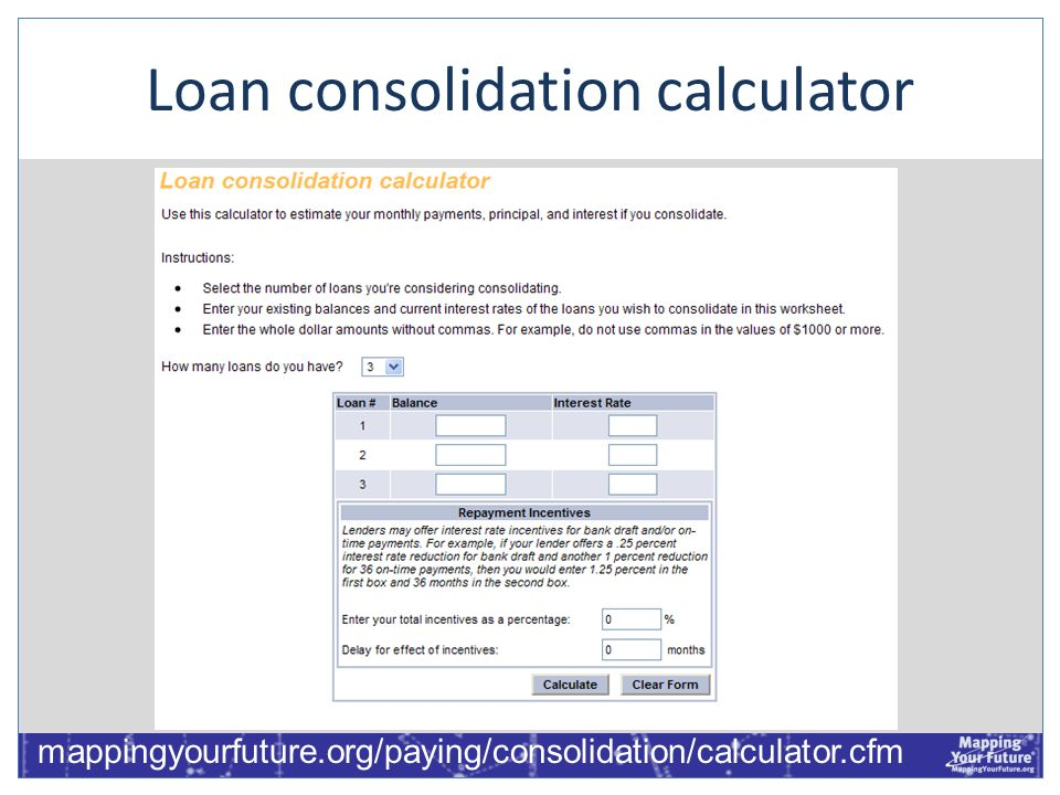 Loan consolidation calculator