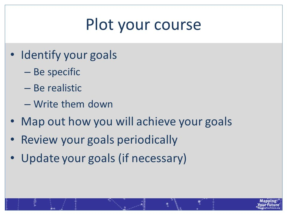 Plot your course Identify your goals