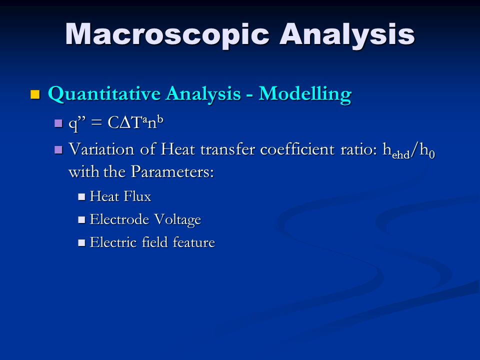 Macroscopic Analysis Quantitative Analysis - Modelling q = CDTanb
