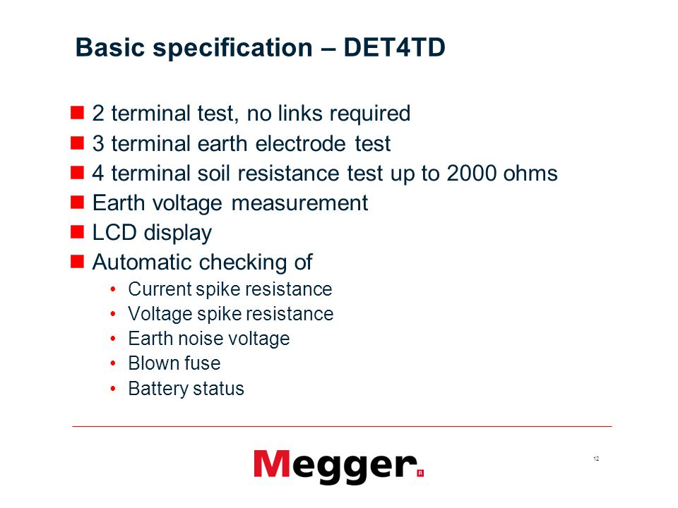 Basic specification – DET4TD