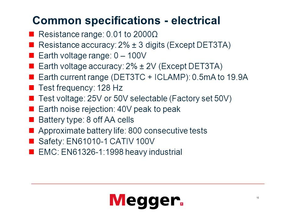 Common specifications - electrical