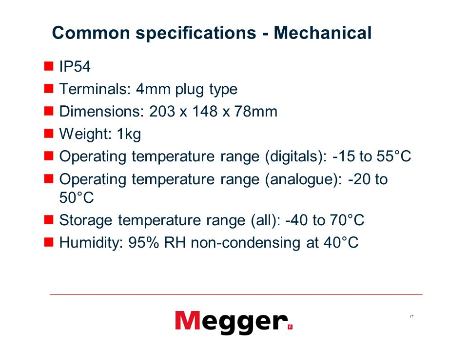 Common specifications - Mechanical