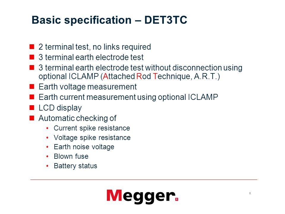 Basic specification – DET3TC