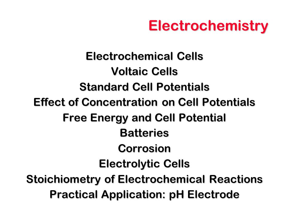 Electrochemistry Electrochemical Cells Voltaic Cells