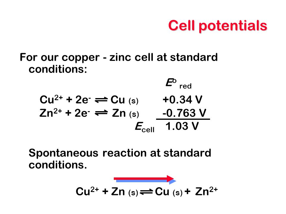 Cell potentials For our copper - zinc cell at standard conditions: