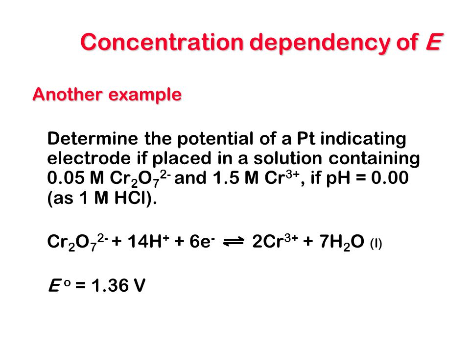 Concentration dependency of E