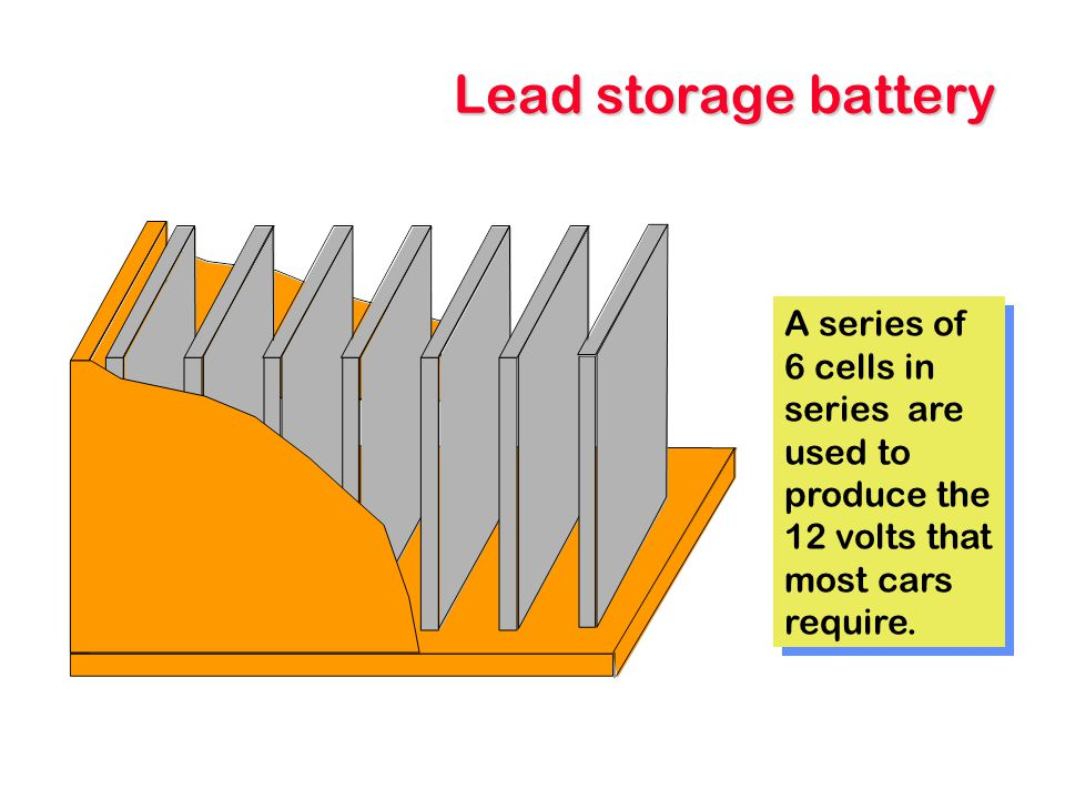 Lead storage battery A series of 6 cells in series are used to