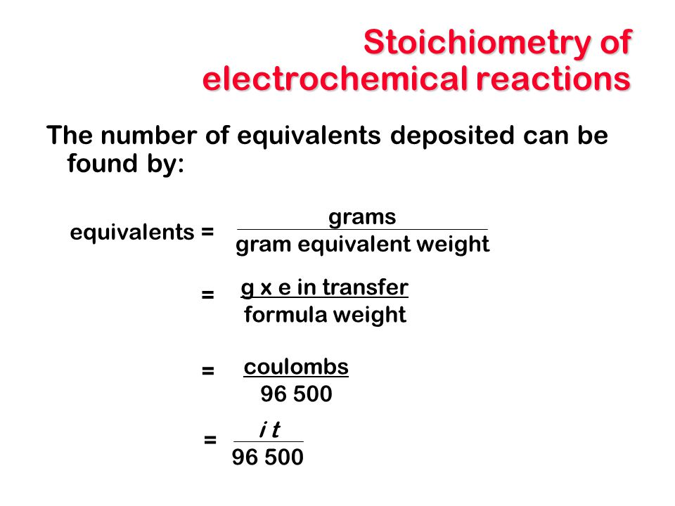 Stoichiometry of electrochemical reactions