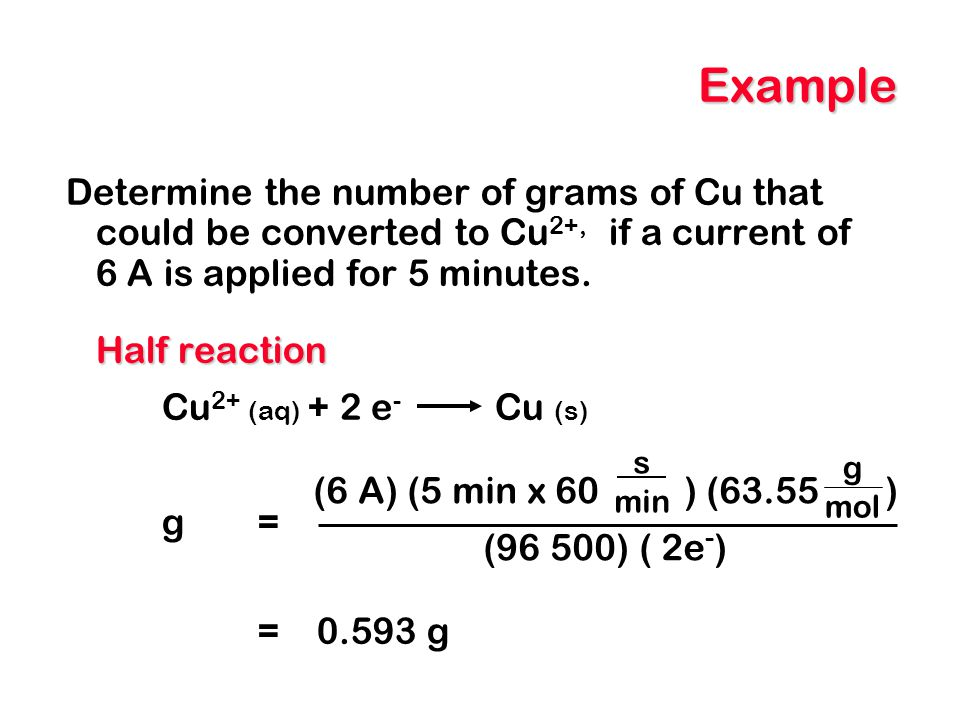 Example Determine the number of grams of Cu that could be converted to Cu2+, if a current of 6 A is applied for 5 minutes.