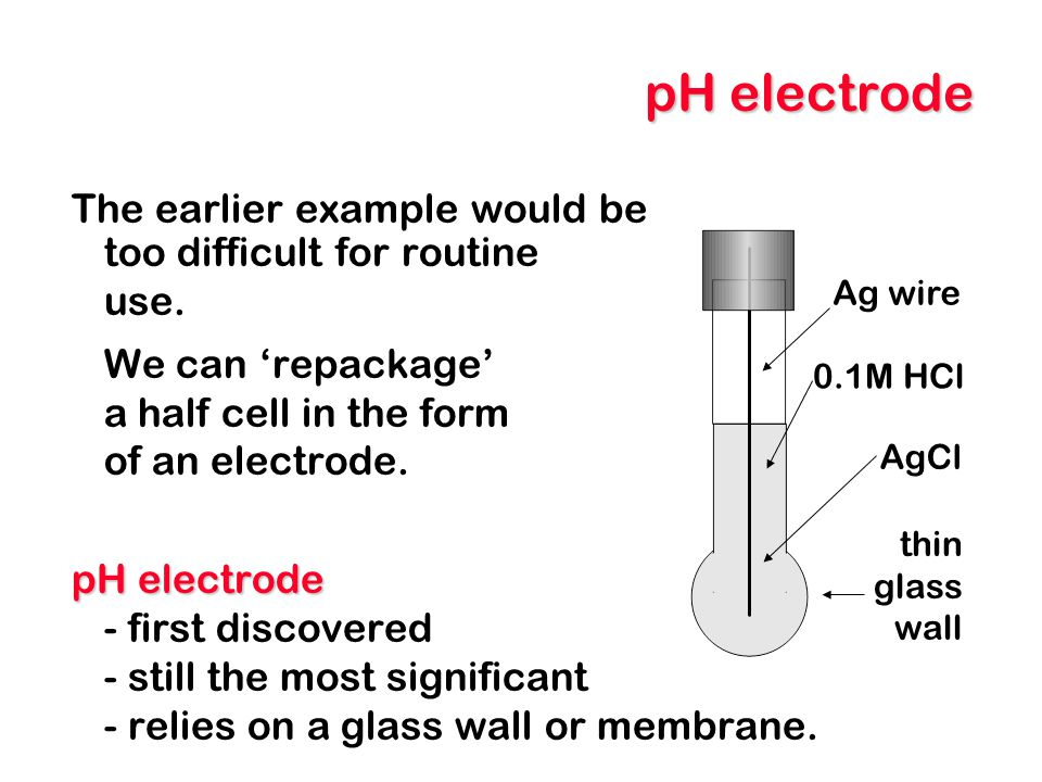 pH electrode The earlier example would be too difficult for routine