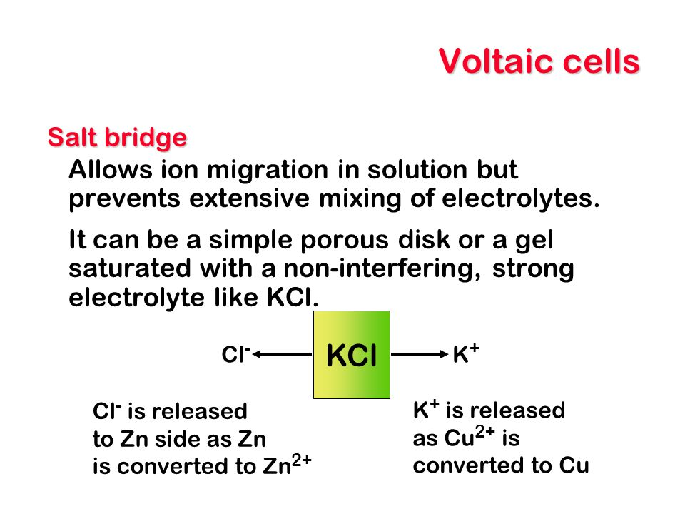 Voltaic cells KCl Salt bridge