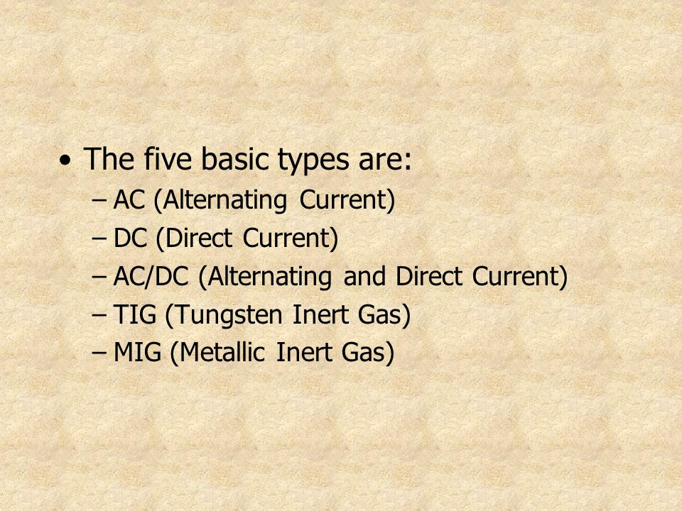 The five basic types are: