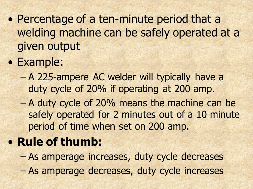 Percentage of a ten-minute period that a welding machine can be safely operated at a given output
