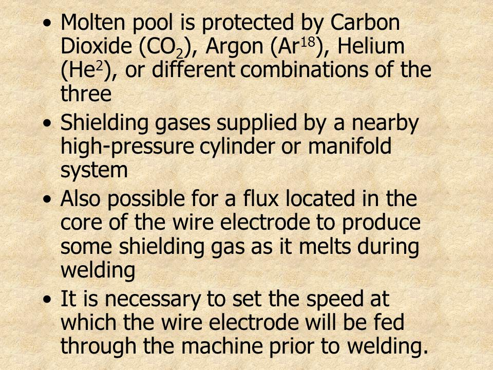 Molten pool is protected by Carbon Dioxide (CO2), Argon (Ar18), Helium (He2), or different combinations of the three
