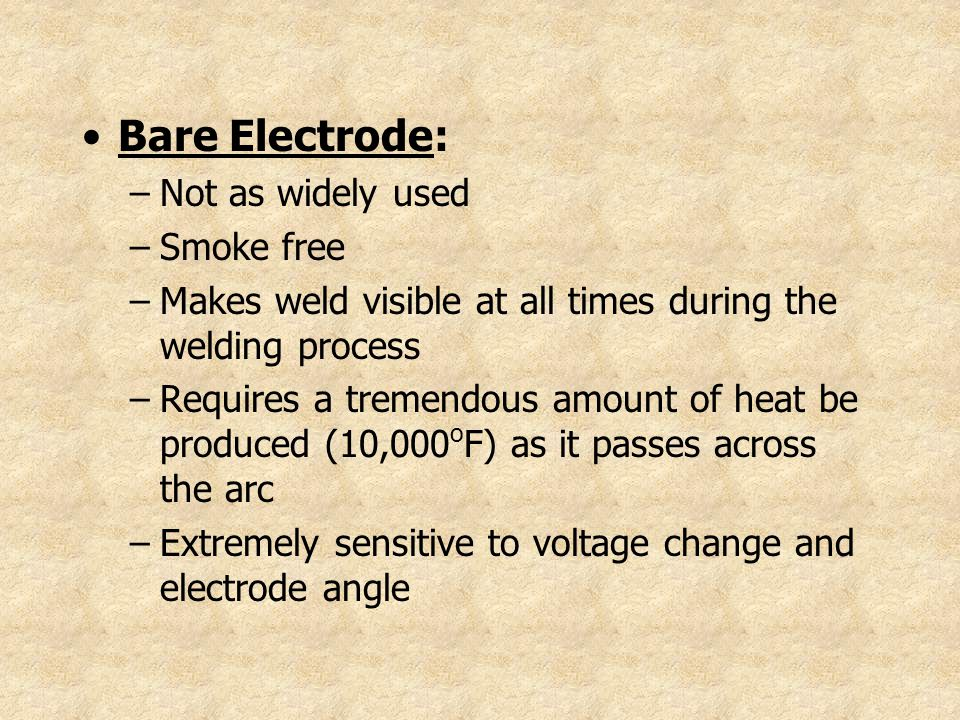 Bare Electrode: Not as widely used Smoke free