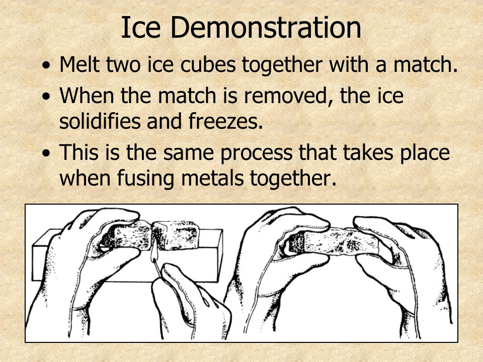 Ice Demonstration Melt two ice cubes together with a match.