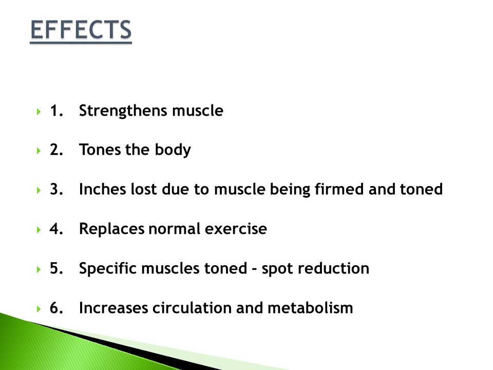 EFFECTS 1. Strengthens muscle 2. Tones the body