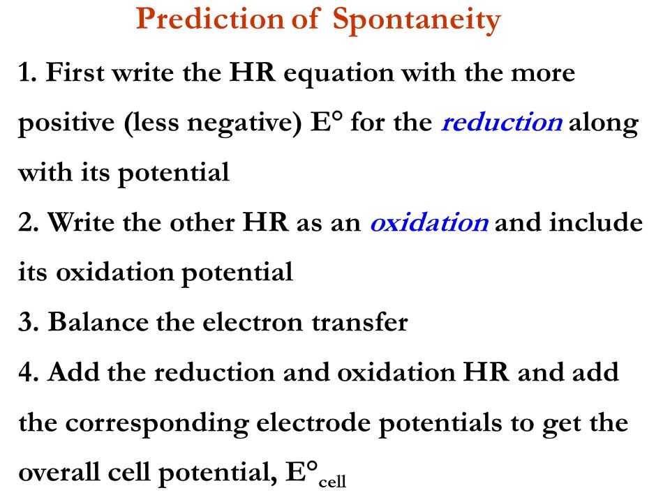 Prediction of Spontaneity