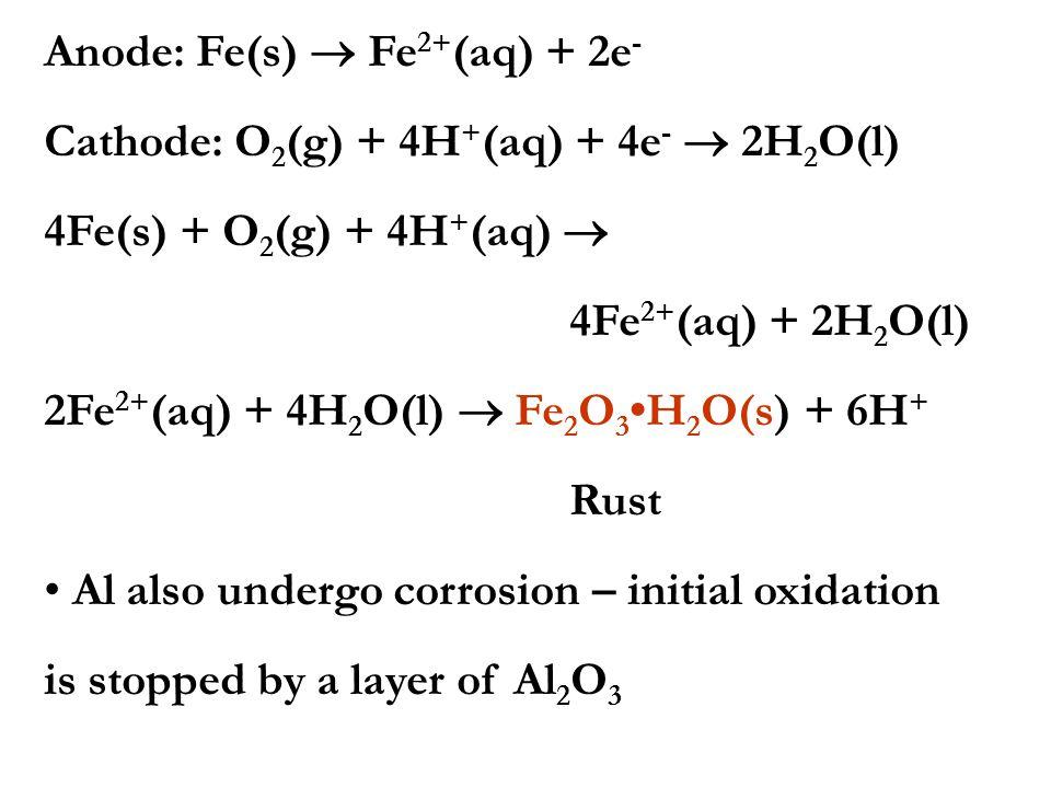 Anode: Fe(s)  Fe2+(aq) + 2e-