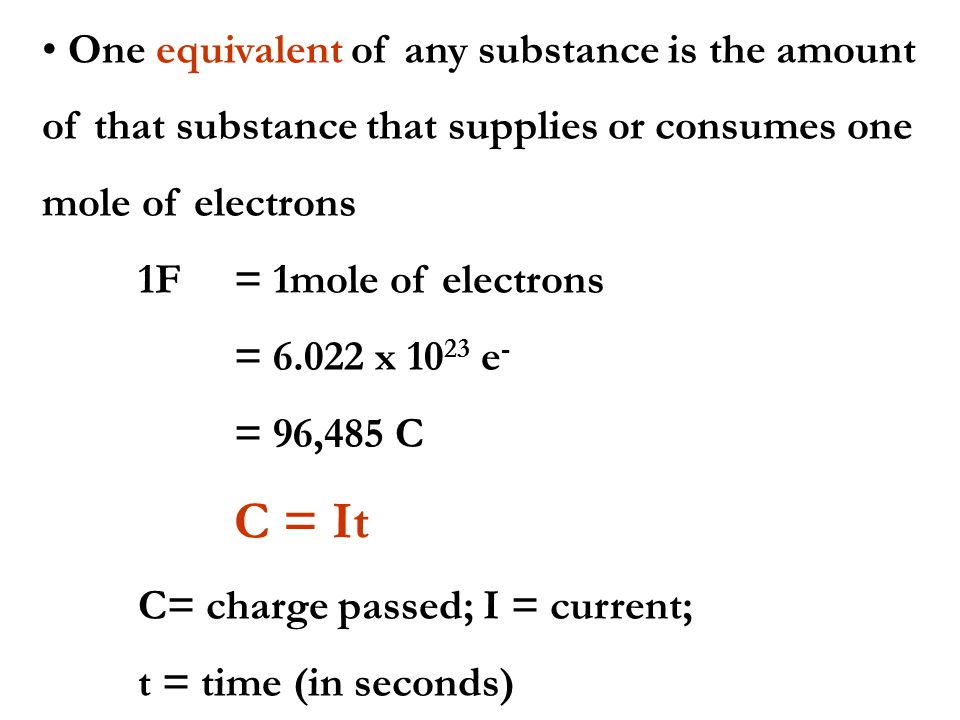 One equivalent of any substance is the amount