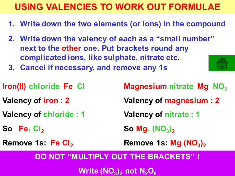 USING VALENCIES TO WORK OUT FORMULAE