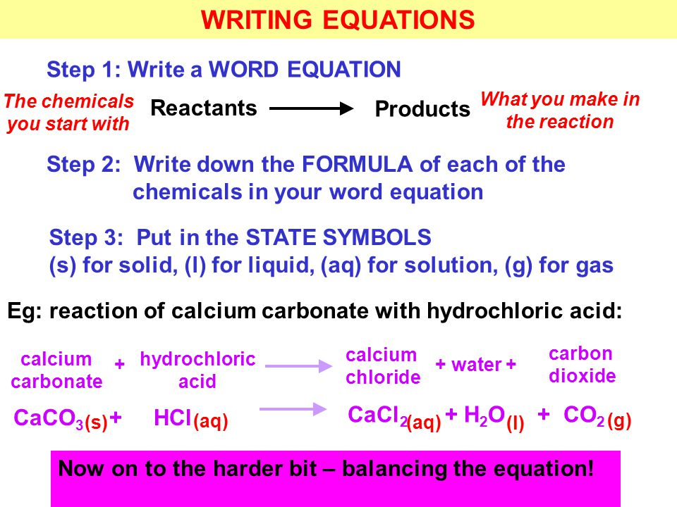 WRITING EQUATIONS Step 1: Write a WORD EQUATION Reactants Products