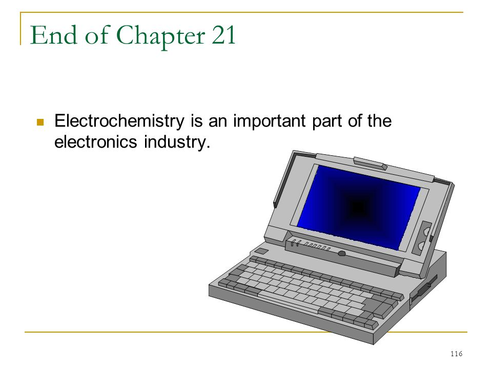 End of Chapter 21 Electrochemistry is an important part of the electronics industry.