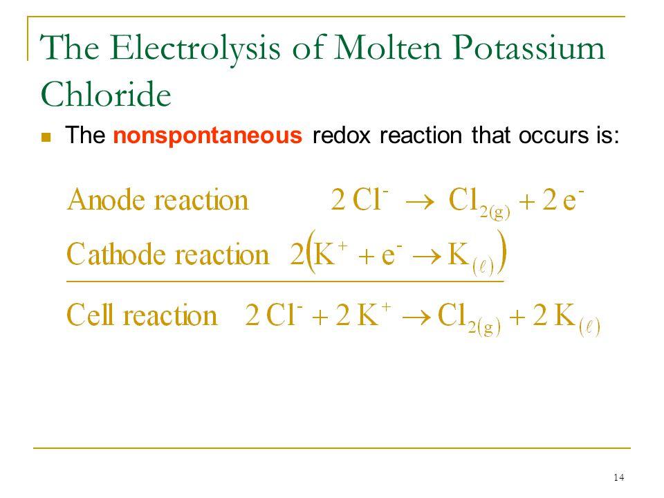 The Electrolysis of Molten Potassium Chloride