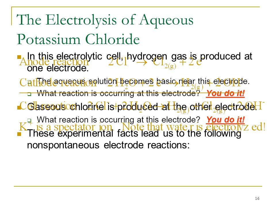 The Electrolysis of Aqueous Potassium Chloride