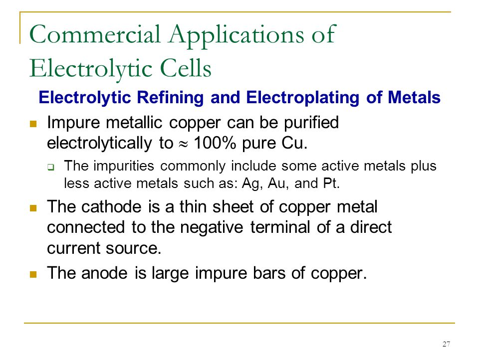 Commercial Applications of Electrolytic Cells