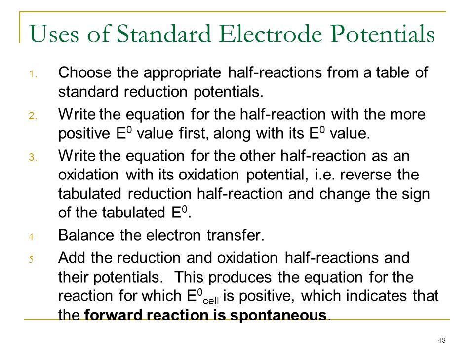 Uses of Standard Electrode Potentials