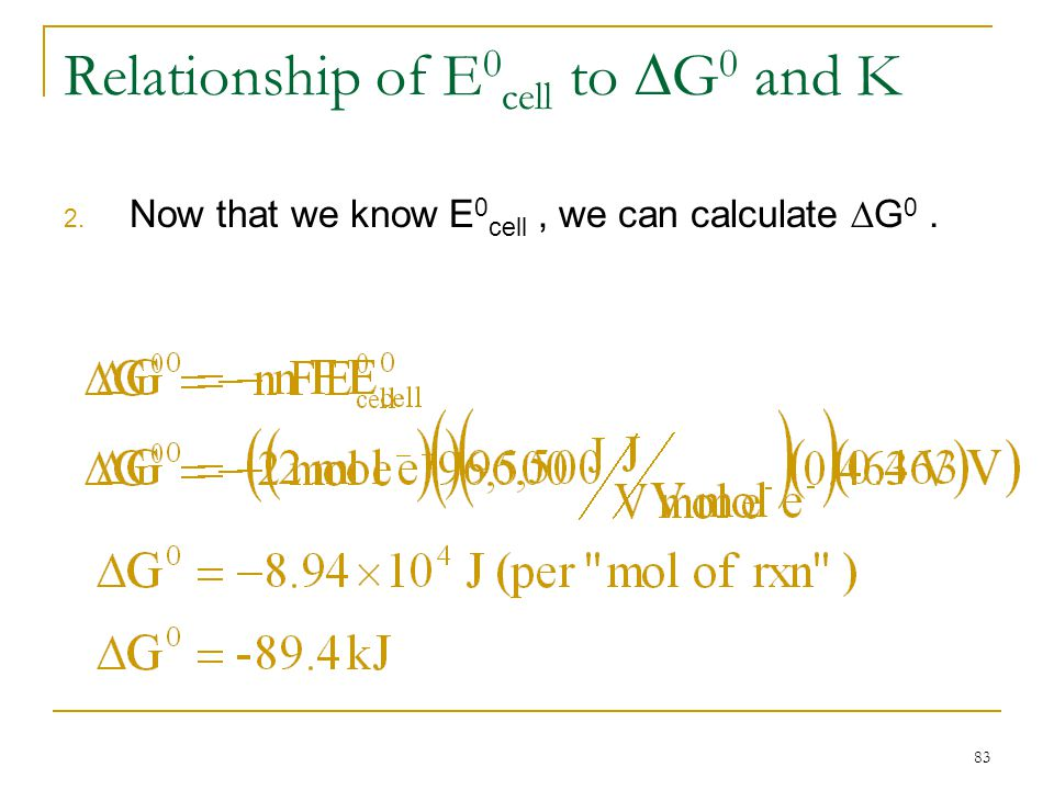 Relationship of E0cell to G0 and K