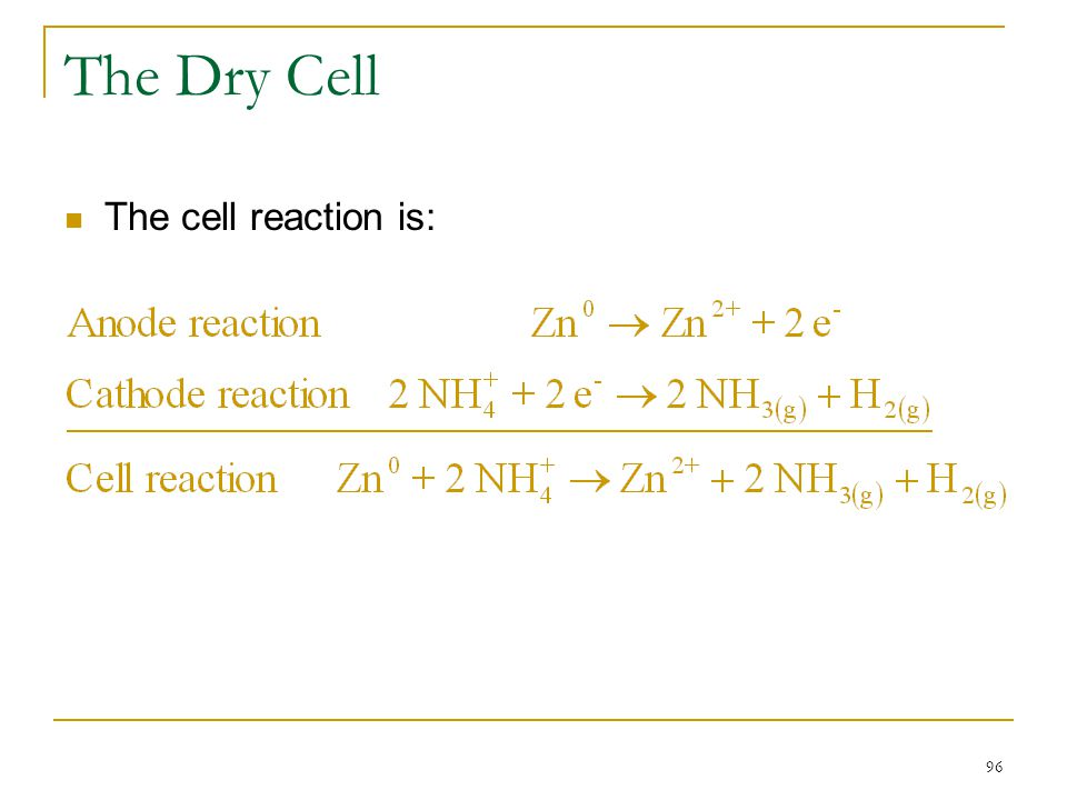 The Dry Cell The cell reaction is: