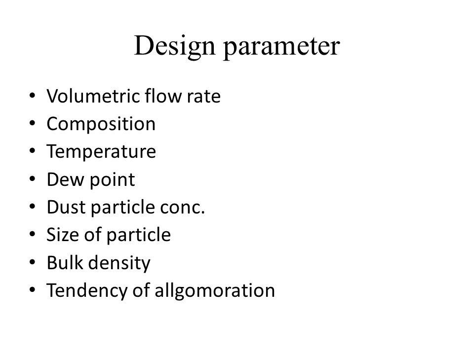 Design parameter Volumetric flow rate Composition Temperature