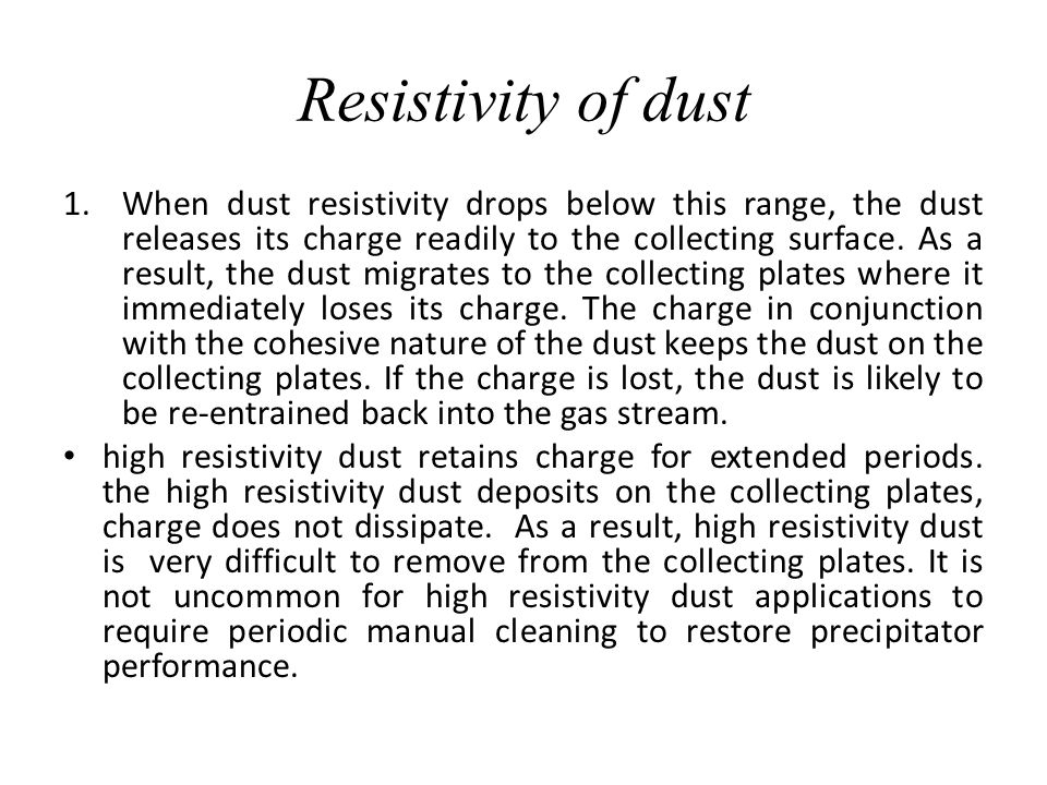Resistivity of dust