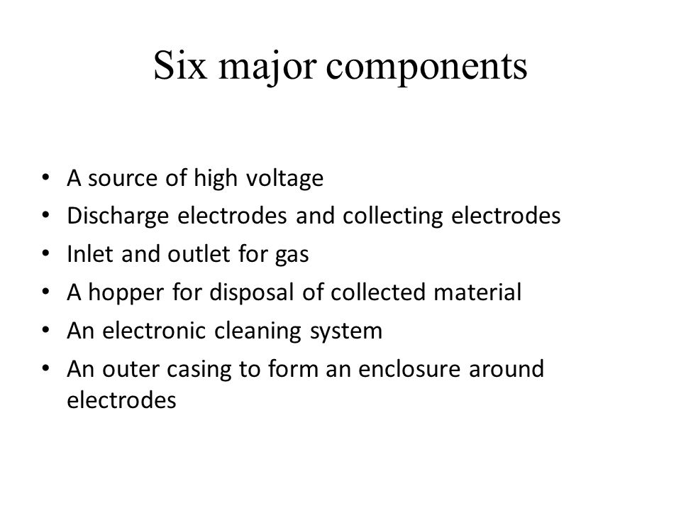 Six major components A source of high voltage