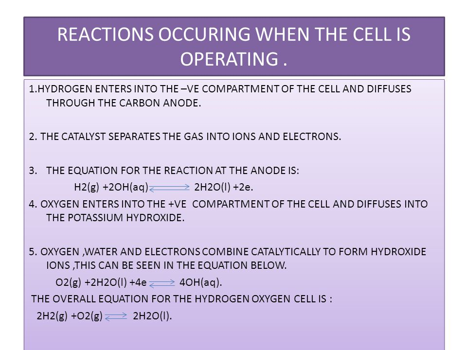 REACTIONS OCCURING WHEN THE CELL IS OPERATING .