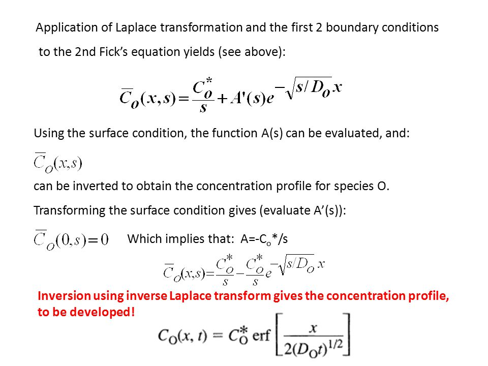 Application of Laplace transformation and the first 2 boundary conditions