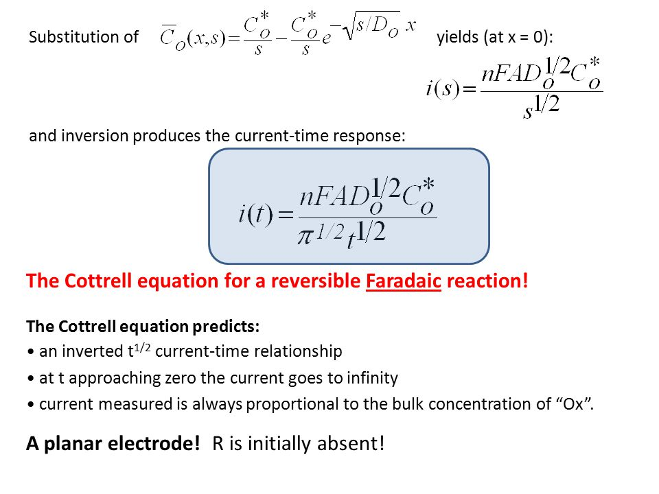 The Cottrell equation for a reversible Faradaic reaction!