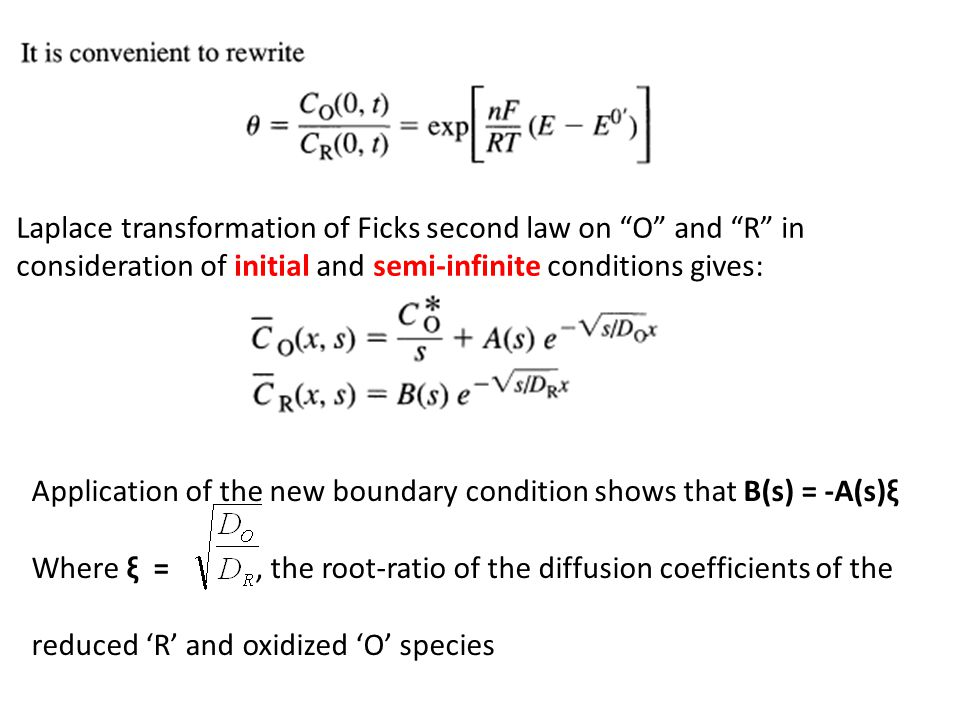 Laplace transformation of Ficks second law on O and R in
