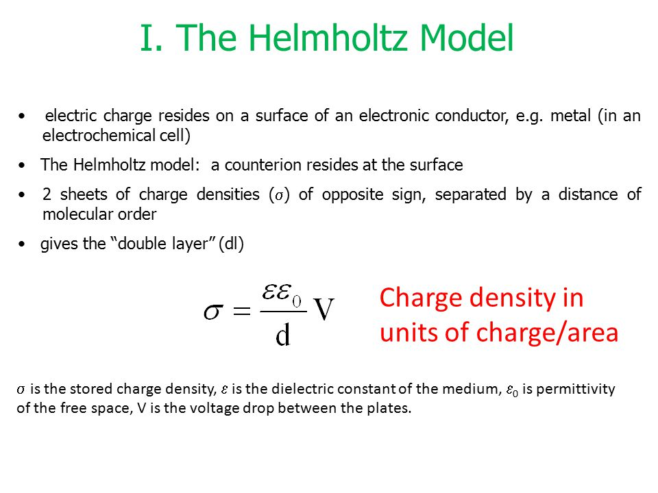 I. The Helmholtz Model Charge density in units of charge/area