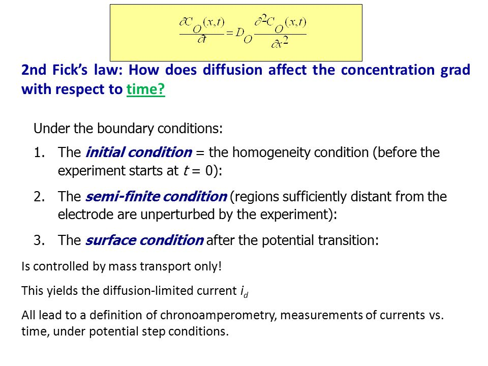 2nd Fick's law: How does diffusion affect the concentration grad with respect to time