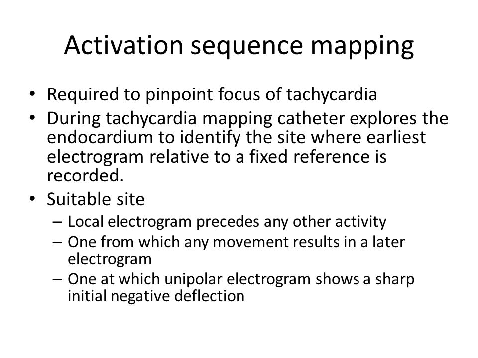Activation sequence mapping