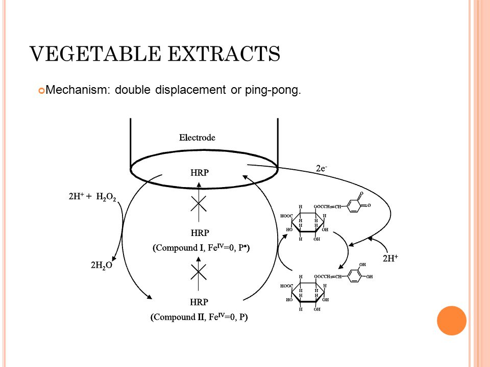 VEGETABLE EXTRACTS Mechanism: double displacement or ping-pong.
