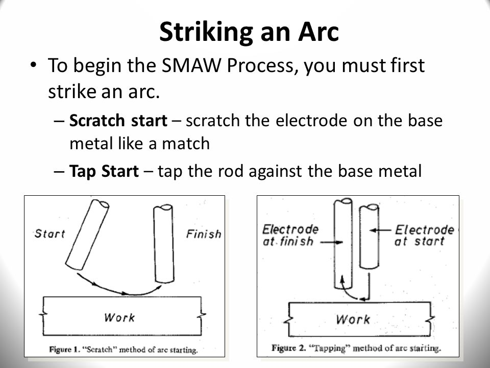 Striking an Arc To begin the SMAW Process, you must first strike an arc. Scratch start – scratch the electrode on the base metal like a match.