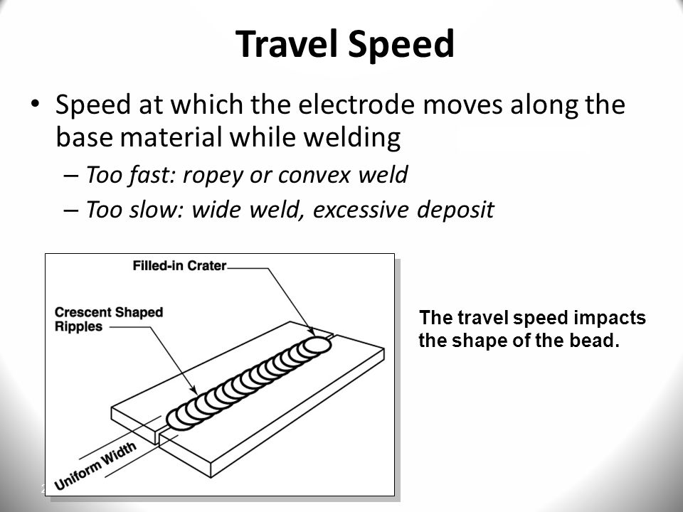 Travel Speed Speed at which the electrode moves along the base material while welding. Too fast: ropey or convex weld.