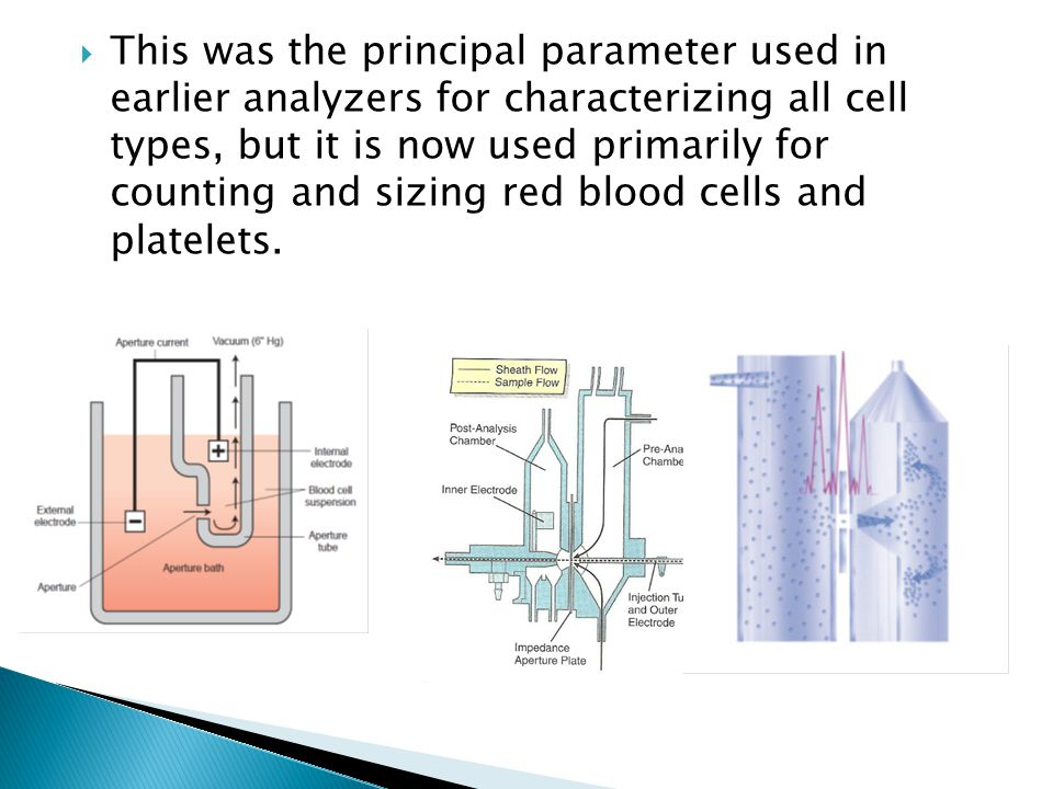 This was the principal parameter used in earlier analyzers for characterizing all cell types, but it is now used primarily for counting and sizing red blood cells and platelets.