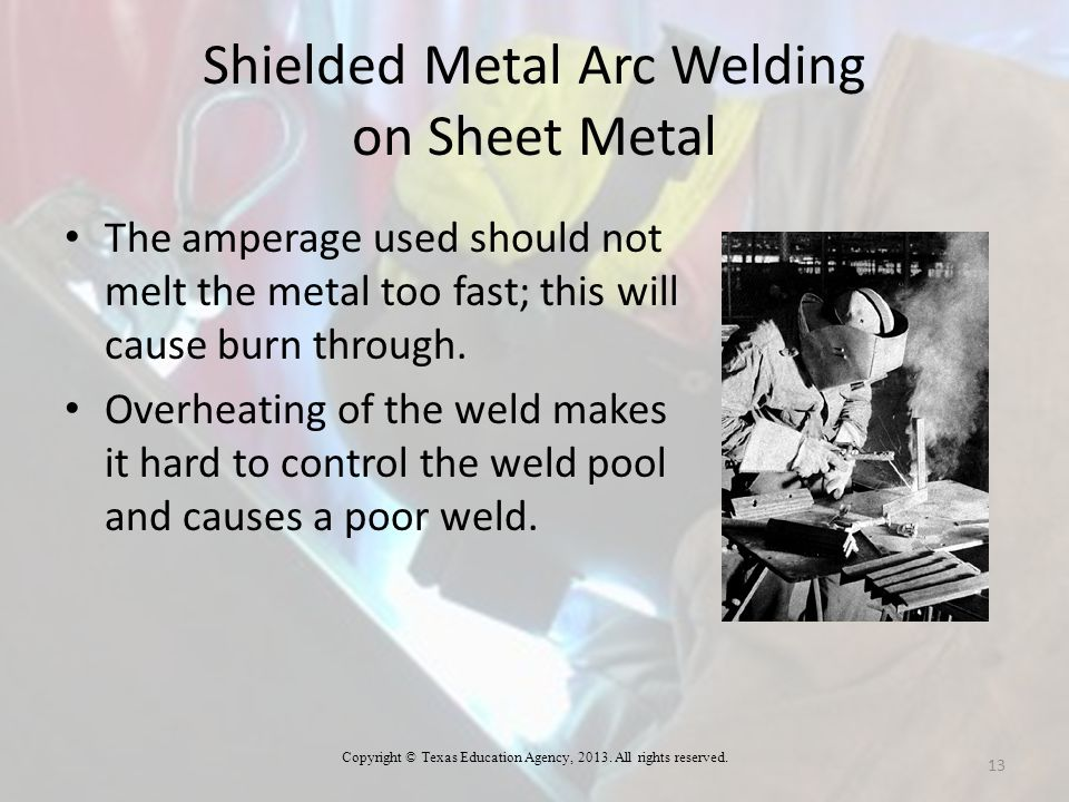 Shielded Metal Arc Welding on Sheet Metal