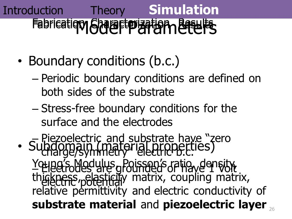 Model Parameters Boundary conditions (b.c.)